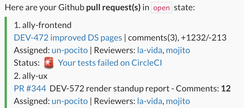 Ally sends to Slack open pull requests in Github report